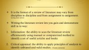 What is a literature review format?