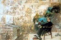Image shows the painting, 'Dickens's dream', in which Charles Dickens sleeps in a sepia-toned room. The only colourful part is where the images from his dreams - reflecting scenes from his novels - swirl around his head.