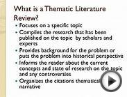 Writing your thematic literature review UAS fall 2013